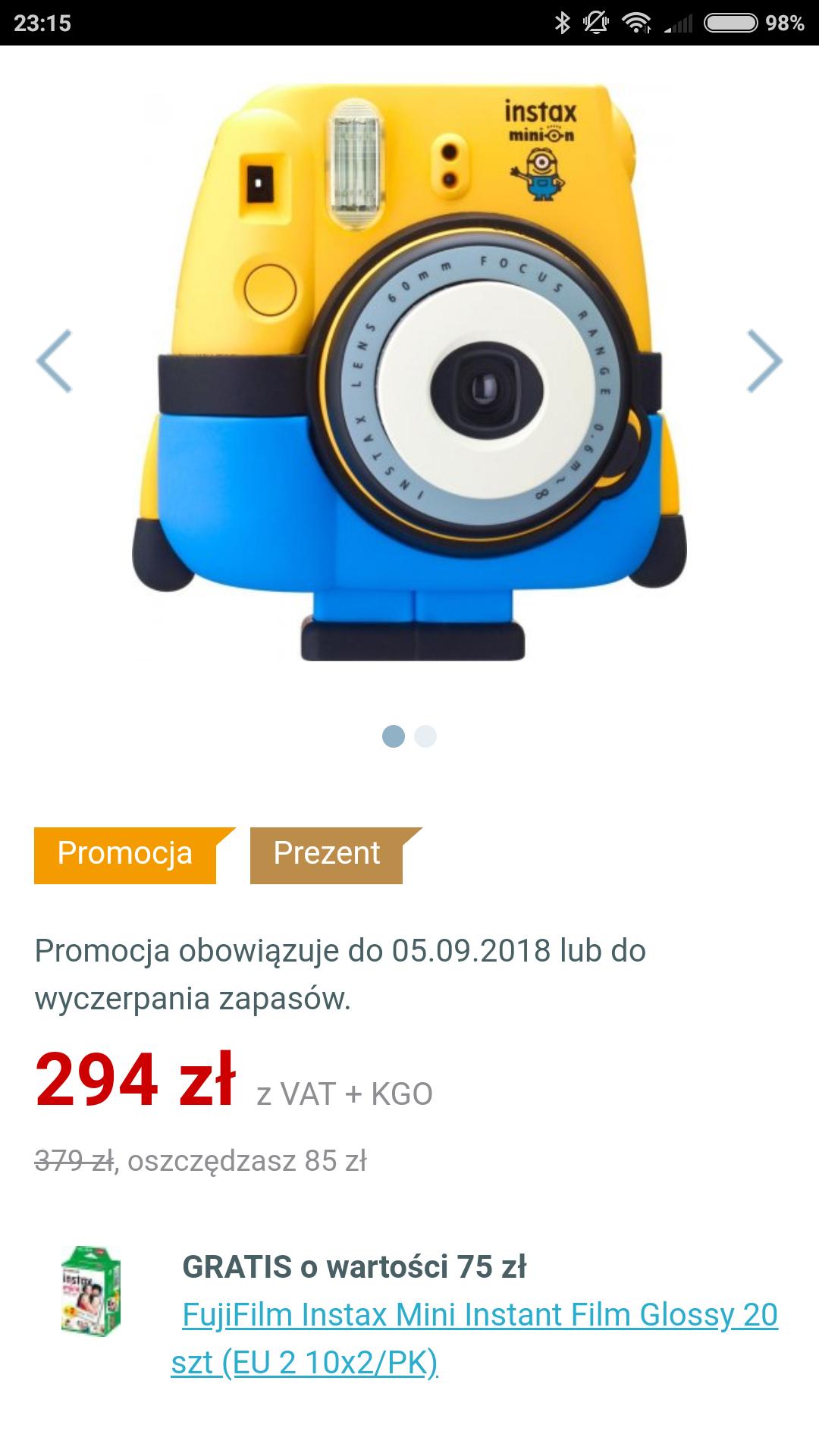 Instax Mini 8 MINION + 20 ZDJĘĆ