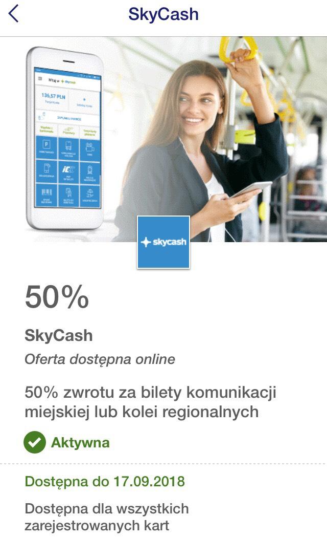 SKYCASH: zwrot 50% (max. 10zł) za zakup biletów komunikacji miejskiej lub kolei regionalnych