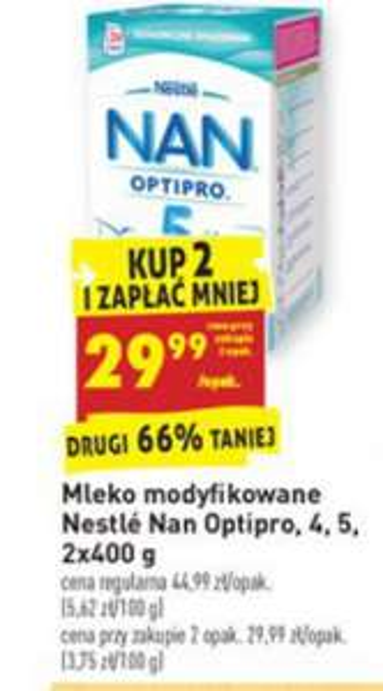 Mleko Nestle NAN 2x400g za 29,99zł przy zakupie dwóch sztuk @ Biedronka