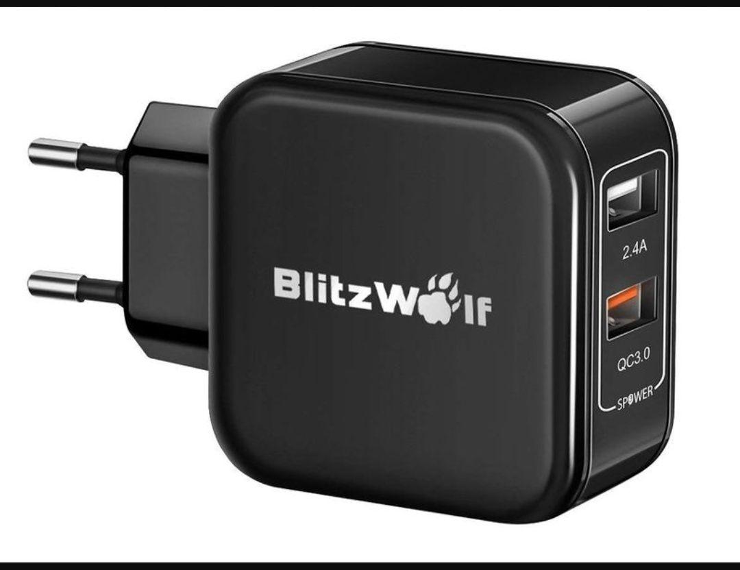 Ładowarka BlitzWolf® BW-S6 QC3.0+2.4A 30W Dual USB Charger - czarna. Cena 9.78$