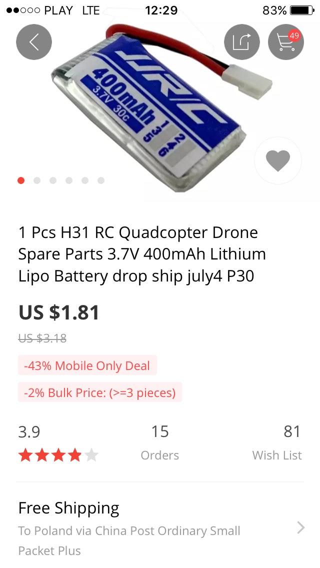 Bateria do drona jjrc h31