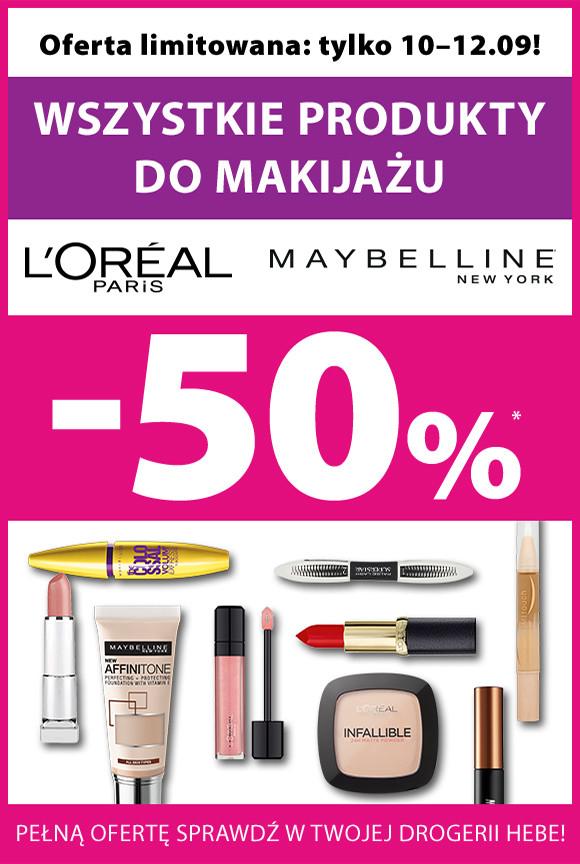 -50% na makijaż Maybelline i L'oreal @Hebe