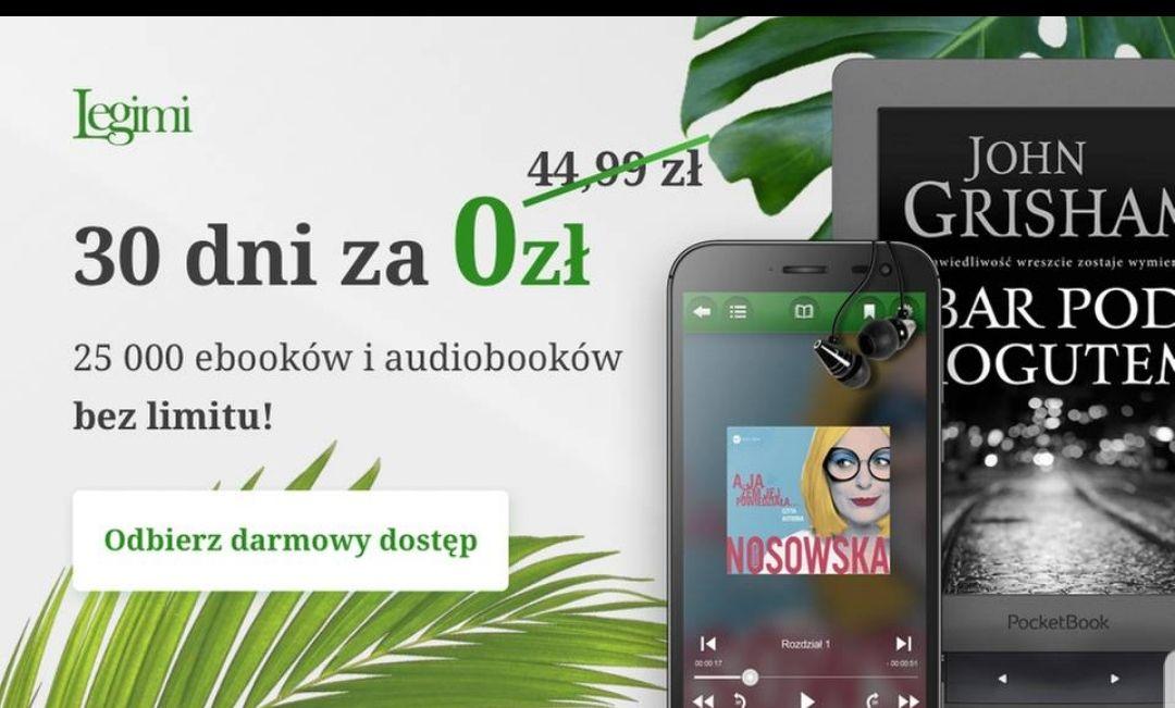 0 zł za 30 dni nielimitowanego dostępu do e-booków i audiobooków w Legimi Groupon Tylko dla nowych uzytkownikow