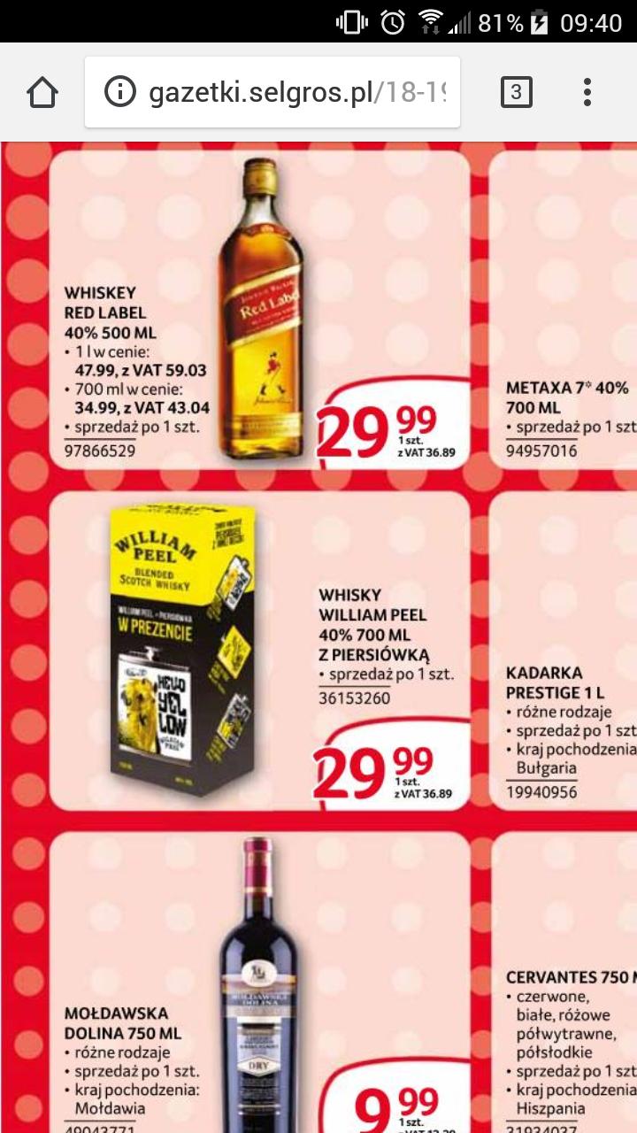 Selgros: Whisky William Peel 700ml + piersiówka