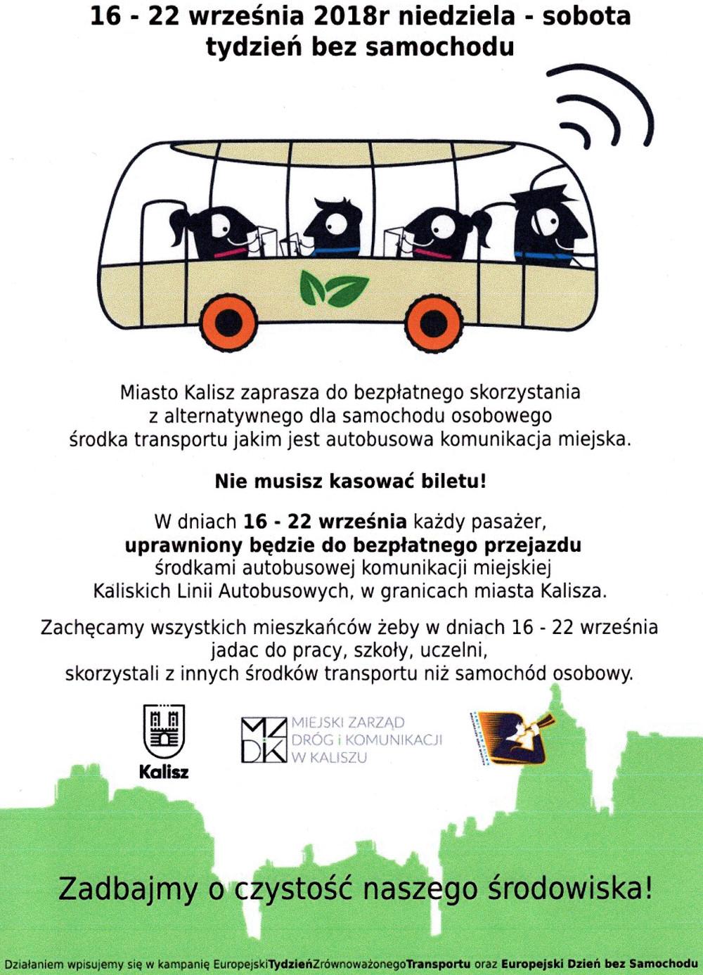 """[Kalisz] 16-22.09 darmowe przejazdy autobusami miejskimi - """"Tydzień bez samochodu"""""""
