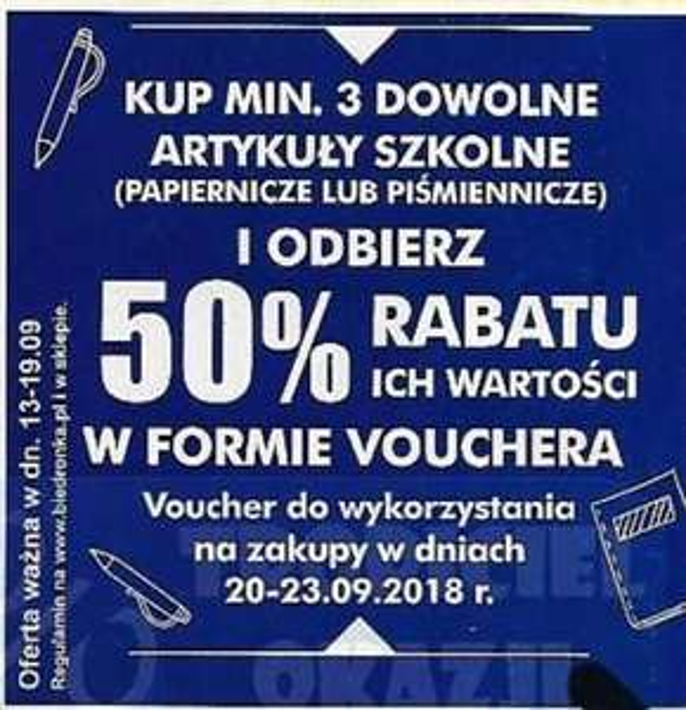 Biedronka kolejny raz 50% w formie vouchera na artykuły szkolne (papiernicze lub piśmiennicze)