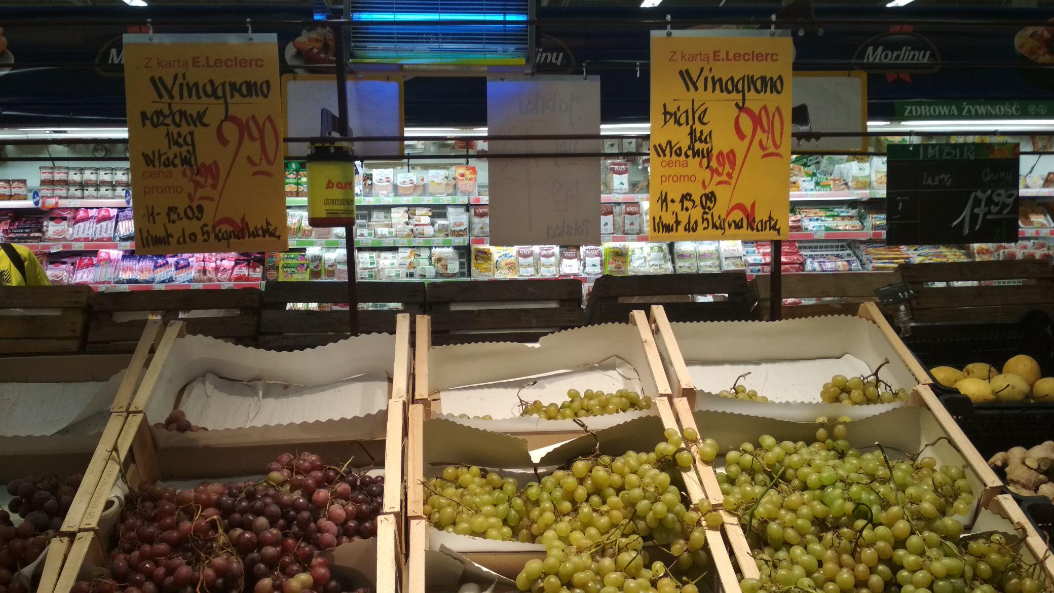 Winogrono białe i różowe Leclerc Rzeszów