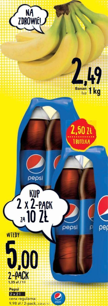 4x 2L Pepsi (L=1,25zł) i banany 1kg=2,49zł @ Intermarche