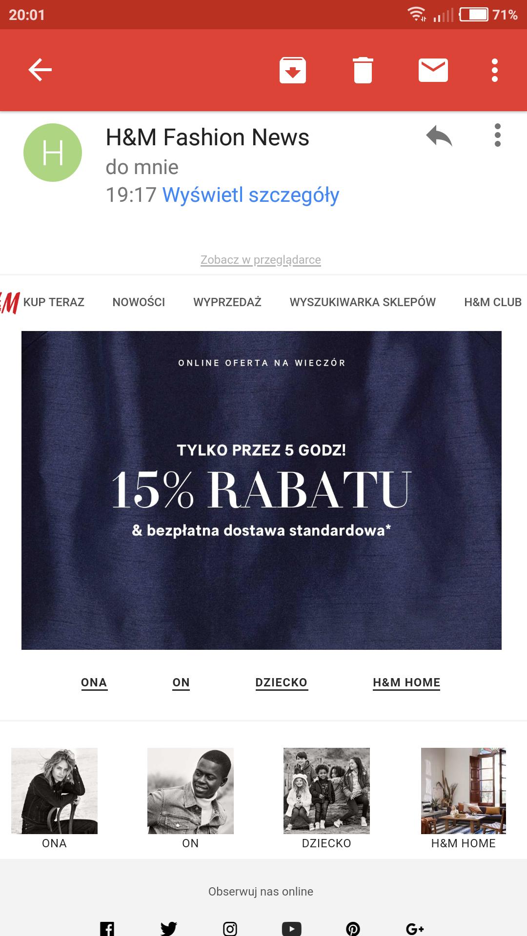 - 15 % na wszystko w H&M