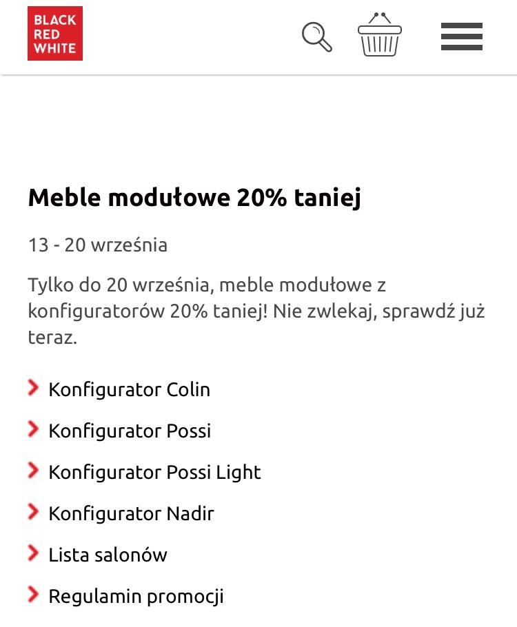 Black Red White BRW meble modułowe 20% taniej