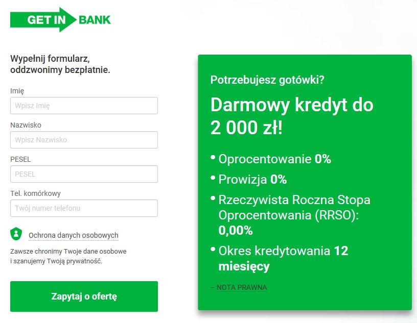 Getin Bank - darmowy kredyt gotówkowy na 12 miesięcy. RRSO 0 %