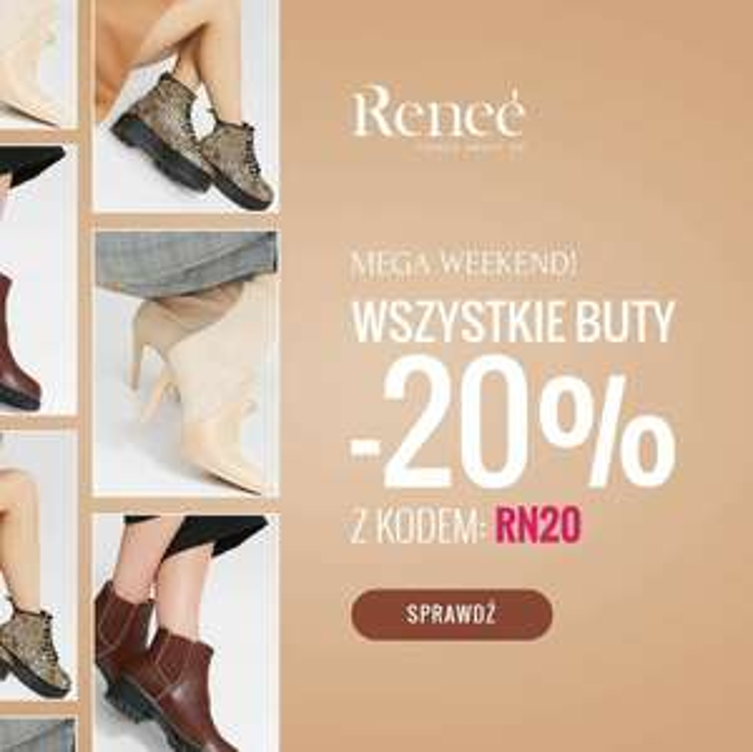 -20% na wszystkie buty (także przecenione) @Renee