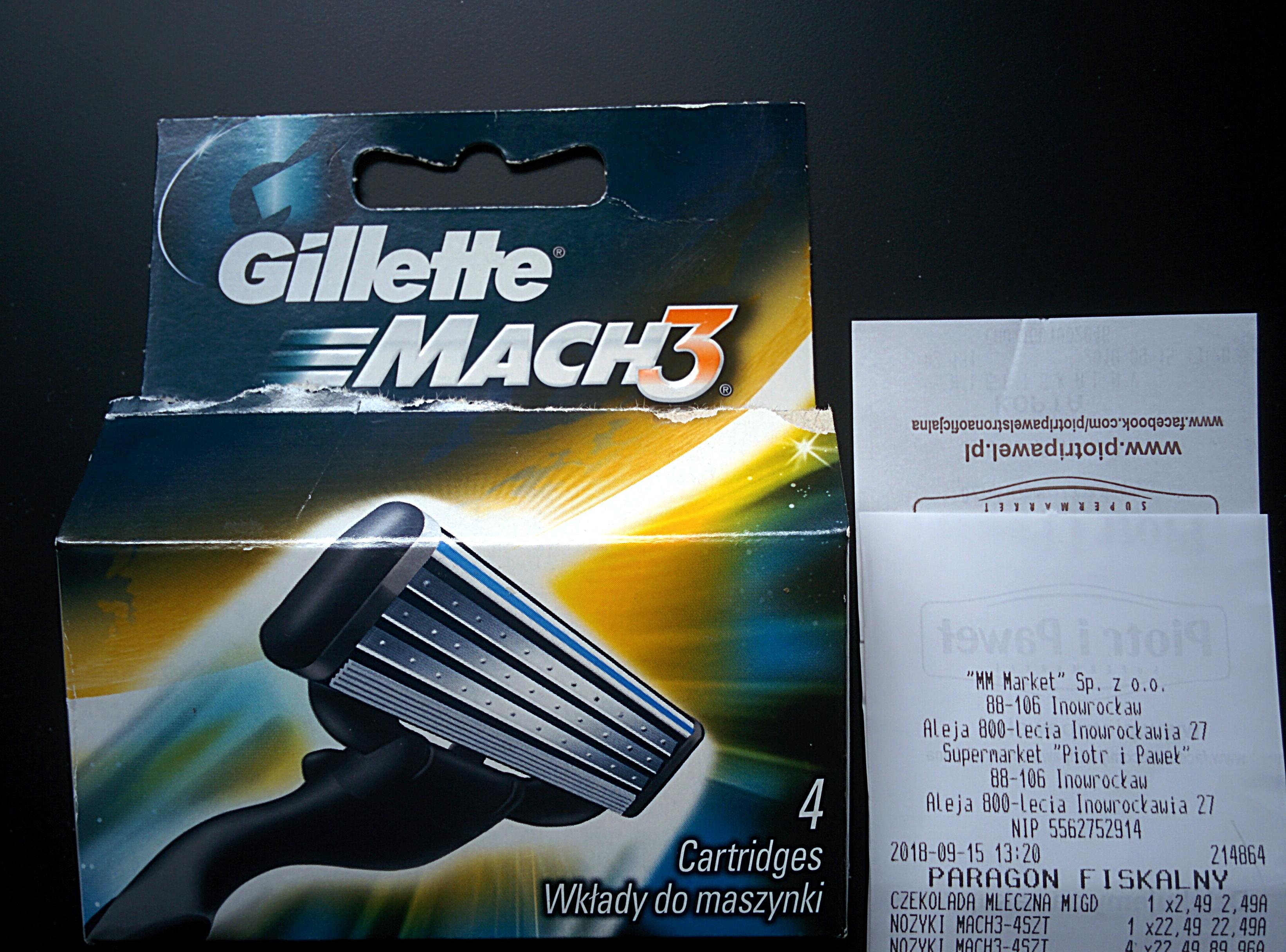 Gillette Mach3 - 4 wkłady Piotr i Paweł