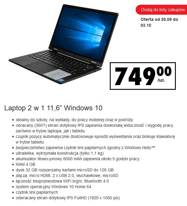 "Laptop/tablet Hykker Hello 2w1 11,6"" IPS FullHD 4GB/32GB Win10 8000mAh @ Biedronka"