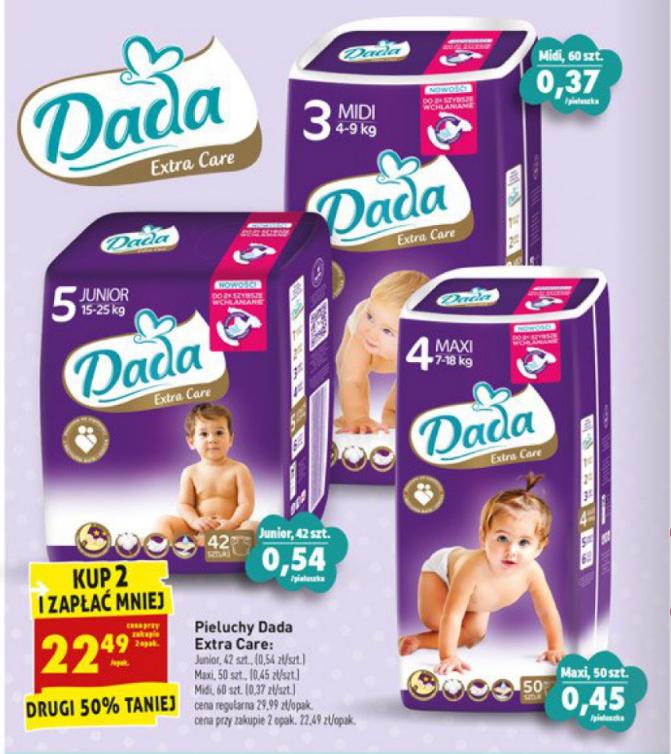 Pieluszki Dada Extra Care za 22,49 zł przy zakupie 2 opakowań @ Biedronka