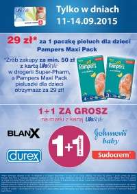 Drugi produkt za 1gr i pieluchy Pampers Maxi Pack za 29zł (dla członków klubu LifeStyle) @ Super Pharm