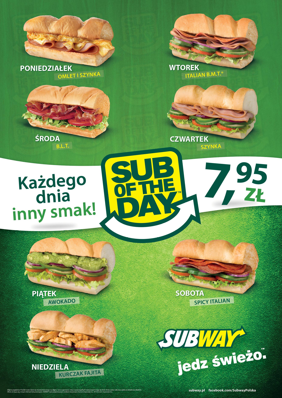 Sub Of The Day w SUBWAY codziennie inna kanapka za 7,95