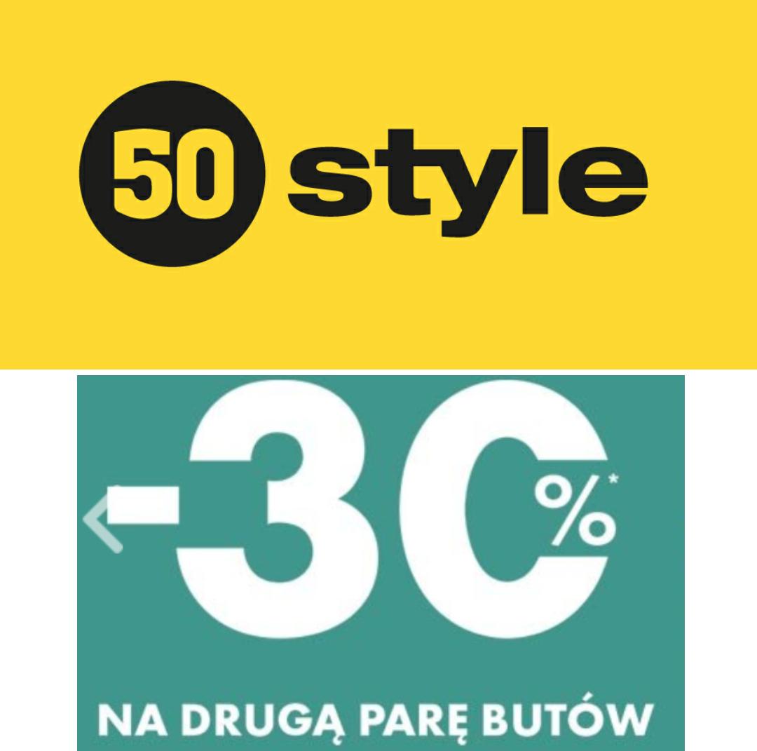 -30% na drugą parę butów (obejmuje wyprzedaż) @50style