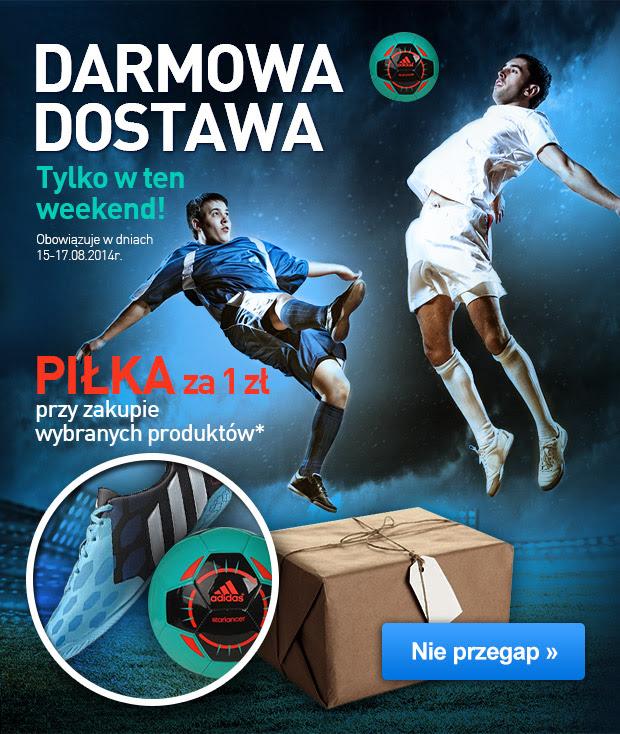 tylko w weekend 15-17.08 darmowa dostawa na każde zamówienie + piłka za 1zł @ Intersport