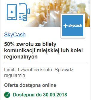visaoferty SkyCash 50% zwrotu za bilety komunikacji miejskiej lub kolei regionalnych