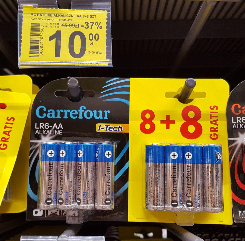 16szt. Baterie LR6 AA Carrefour I-Tech Alkaline