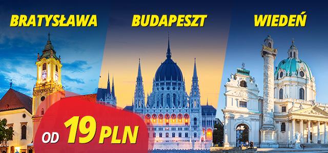 Bilety z Krakowa do Budapesztu/Wiednia/Bratysławy za 19 zł