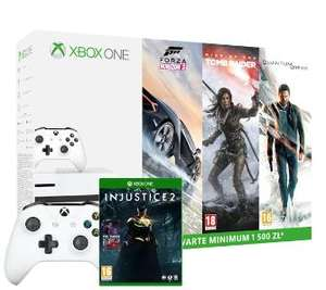 Xbox One S 500GB+Forza Horizon 3+Rise of the Tomb Raider+Quantum Break+ Injustice2+2 pady+XBL 6 m-ce
