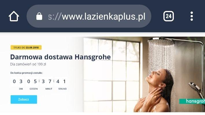 Darmowa dostawa na wszystkie produkty Hansgrohe w Lazienkaplus.pl
