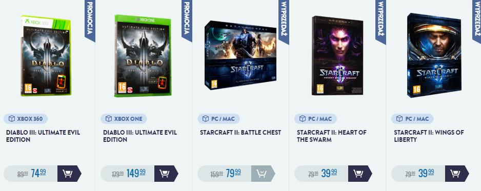 [PC, Playstation 3/4, Xbox One/360] Do 50% rabatu na gry Blizzarda (np. StarCraft 2 za 39,99zł!) @ CDP