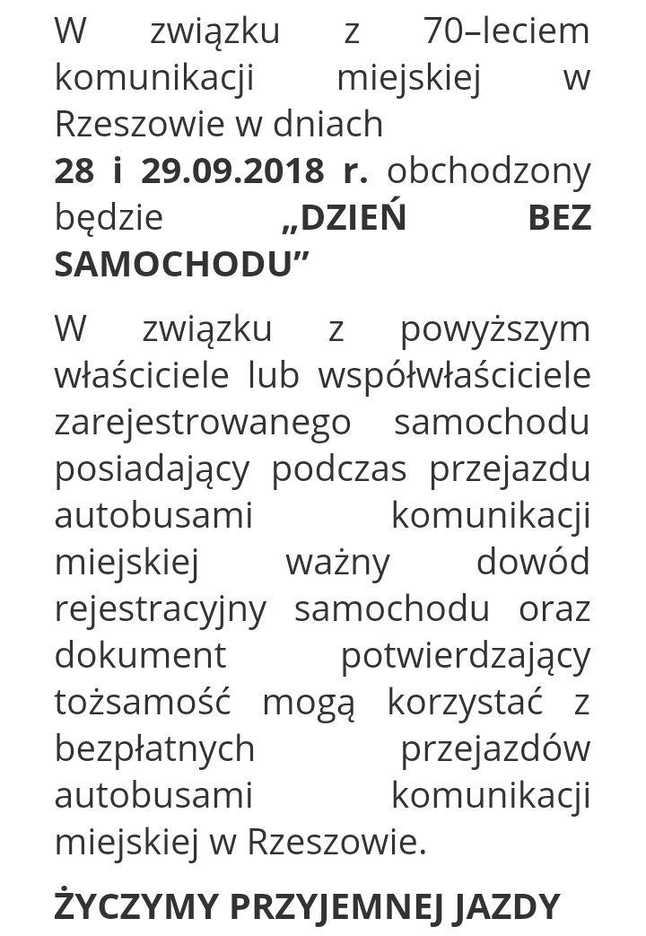 Bezpłatna komunikacja miejska w Rzeszowie 28 i 29 września