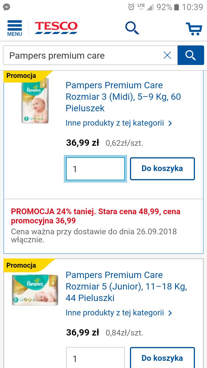 Pampers premium care różne rozmiary