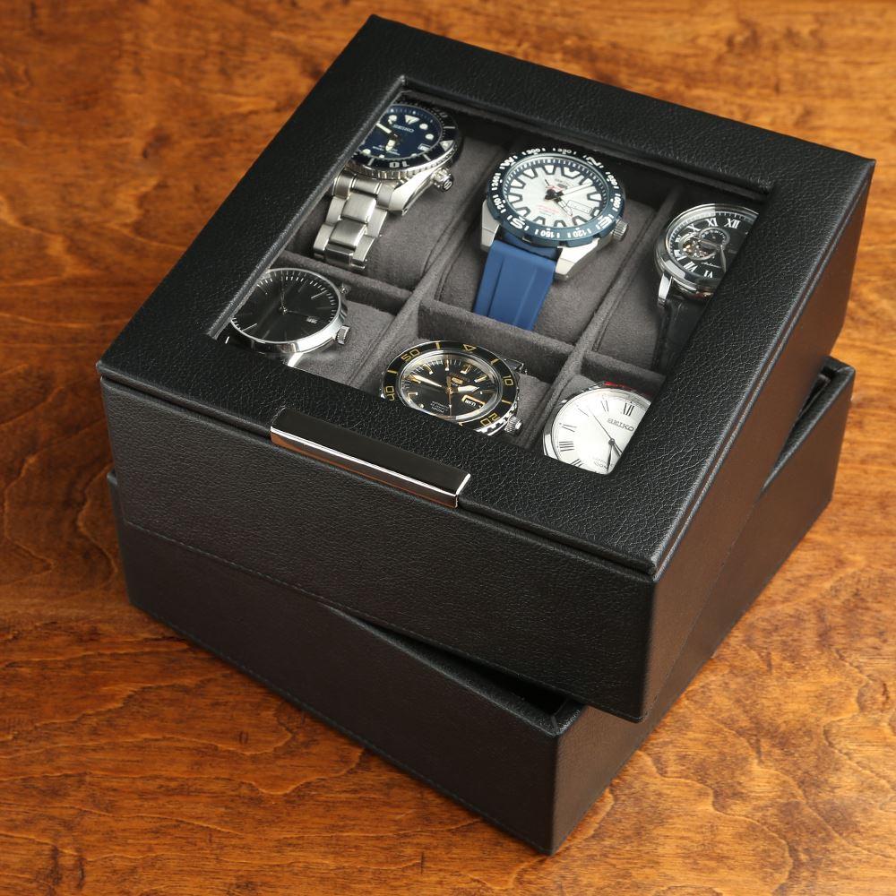 Szkatułka na zegarki WOLF Stackable - opcje: 6 do 12 miejsc i układane w stosy