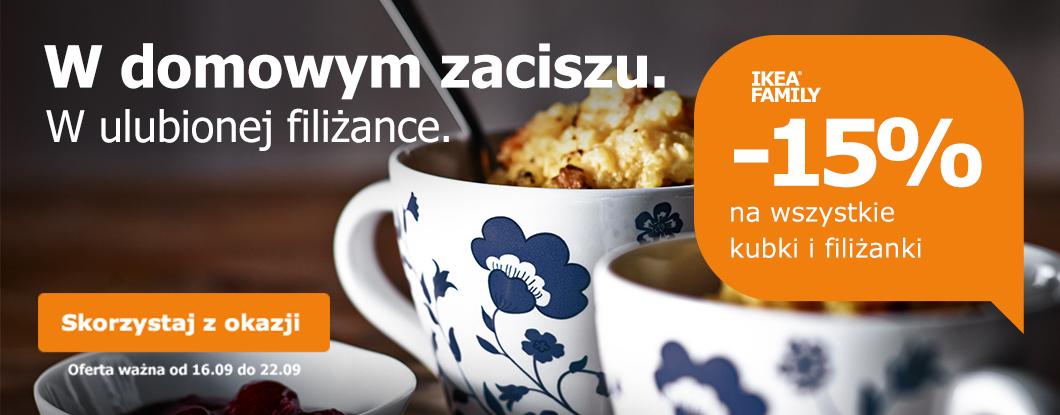 Rabat 15% z kartą Ikea Family na kubki i filiżanki @ Ikea Family