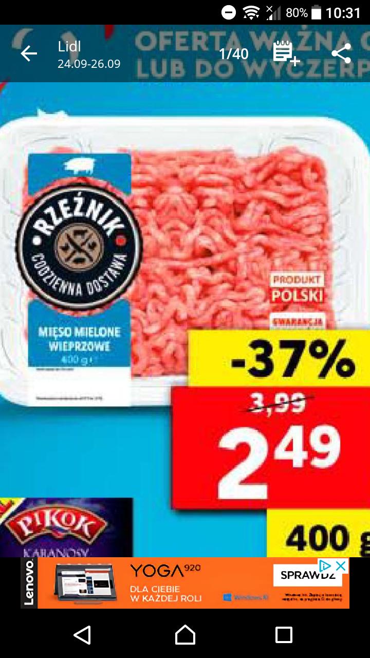 LIDL-Mięso mielone wieprzowe za 2.49 zl
