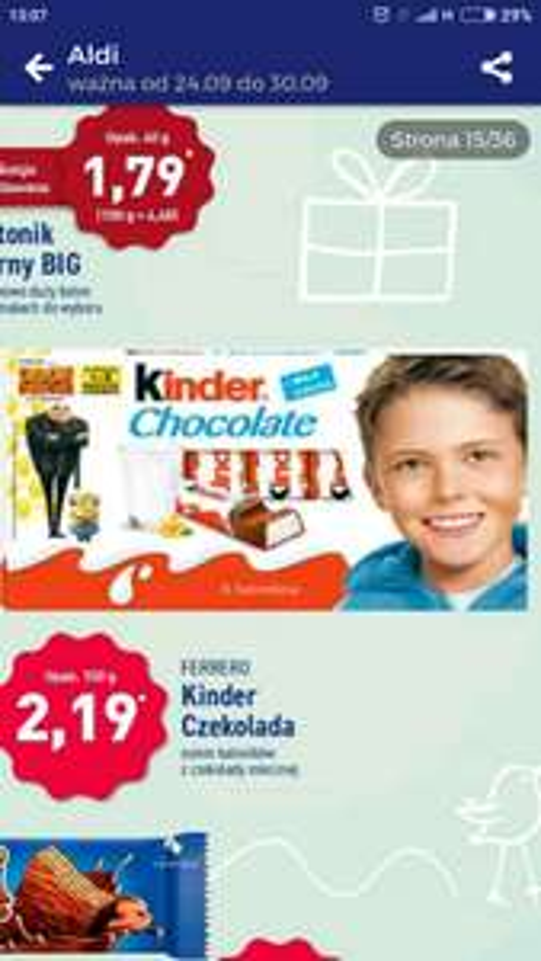 Czekolada Kinder 100g w Aldim (możliwy błąd w gazetce)