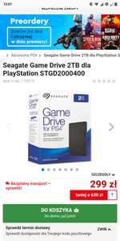 Seagate Game Drive 2TB dla PlayStation