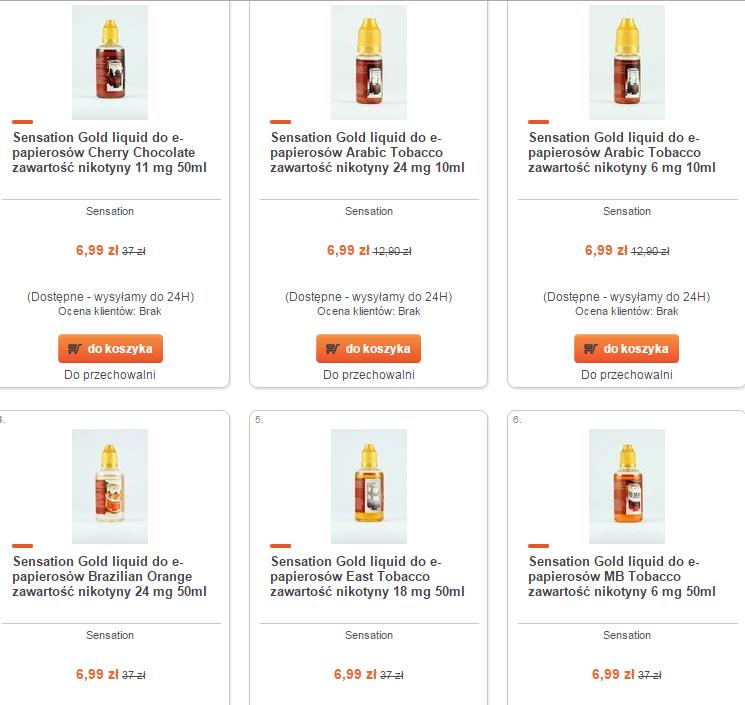 Sensation Gold liquid do e-papierosów w równej cenie 6,99zł (nawet 30zł taniej) @ Merlin