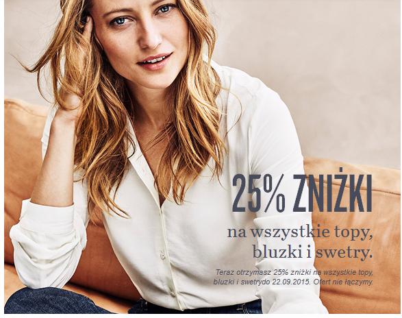 Bluzki, topy i swetry taniej o 25% @ KappAhl