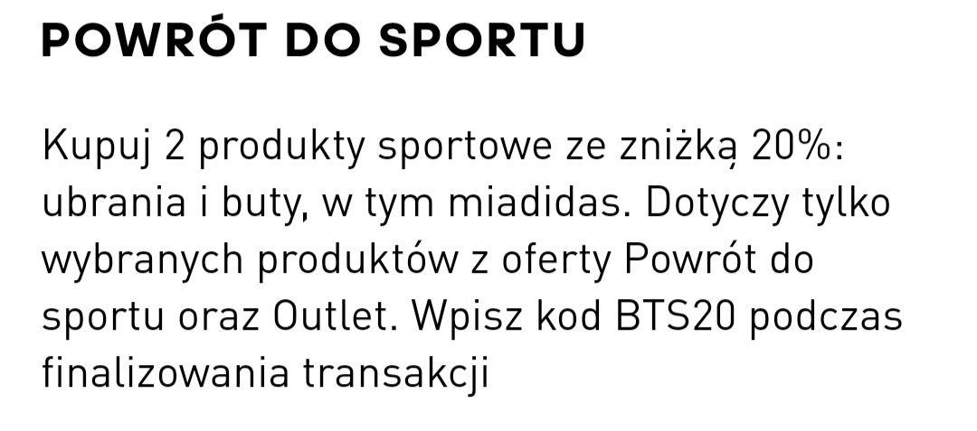 Back To Sport - 20% taniej na wybrane produkty i outlet @ Adidas