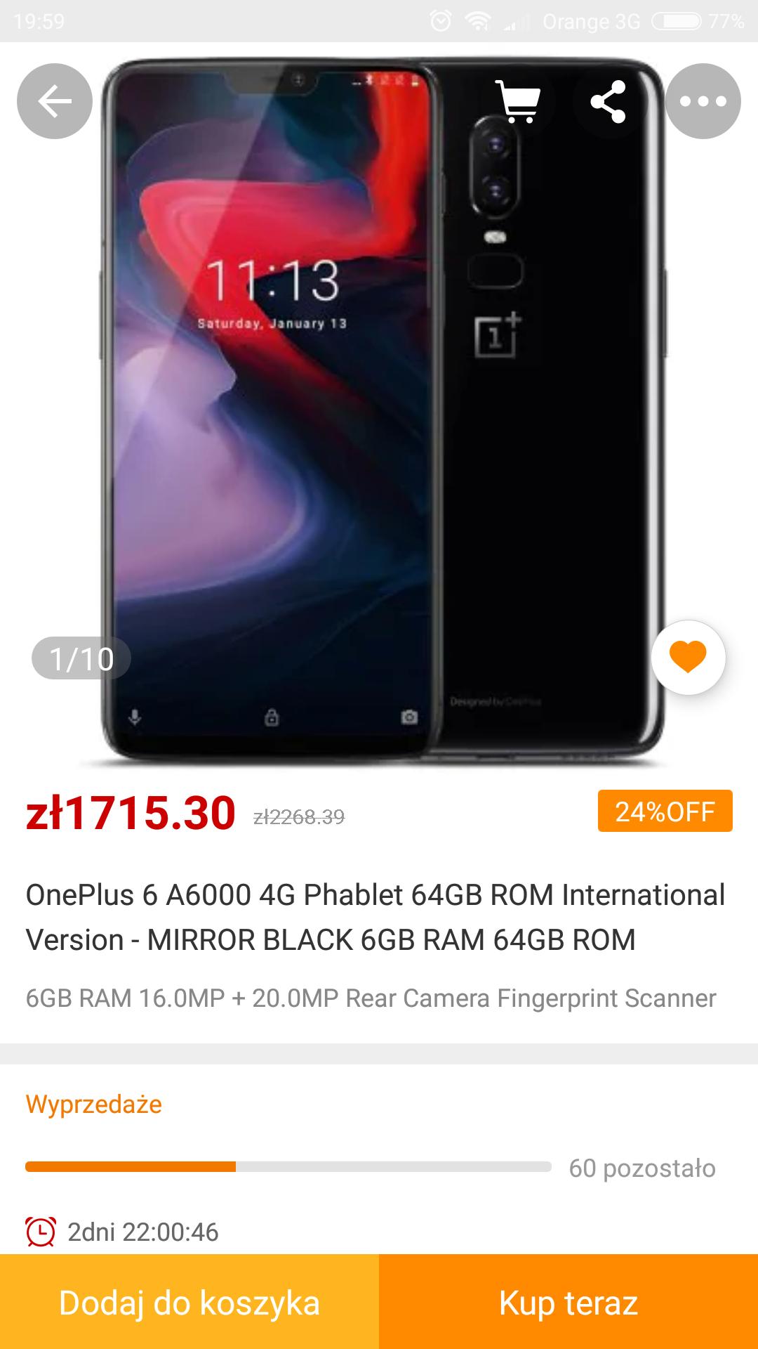 OnePlus 6 w cenie 1671zl z gearbest 450$