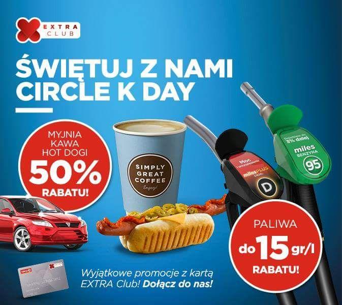 50% tańsza myjnia, kawa oraz hot-dogi, rabat na paliwa do 15 gr/litr - Akcja Ogólnopolska / Circle K Day