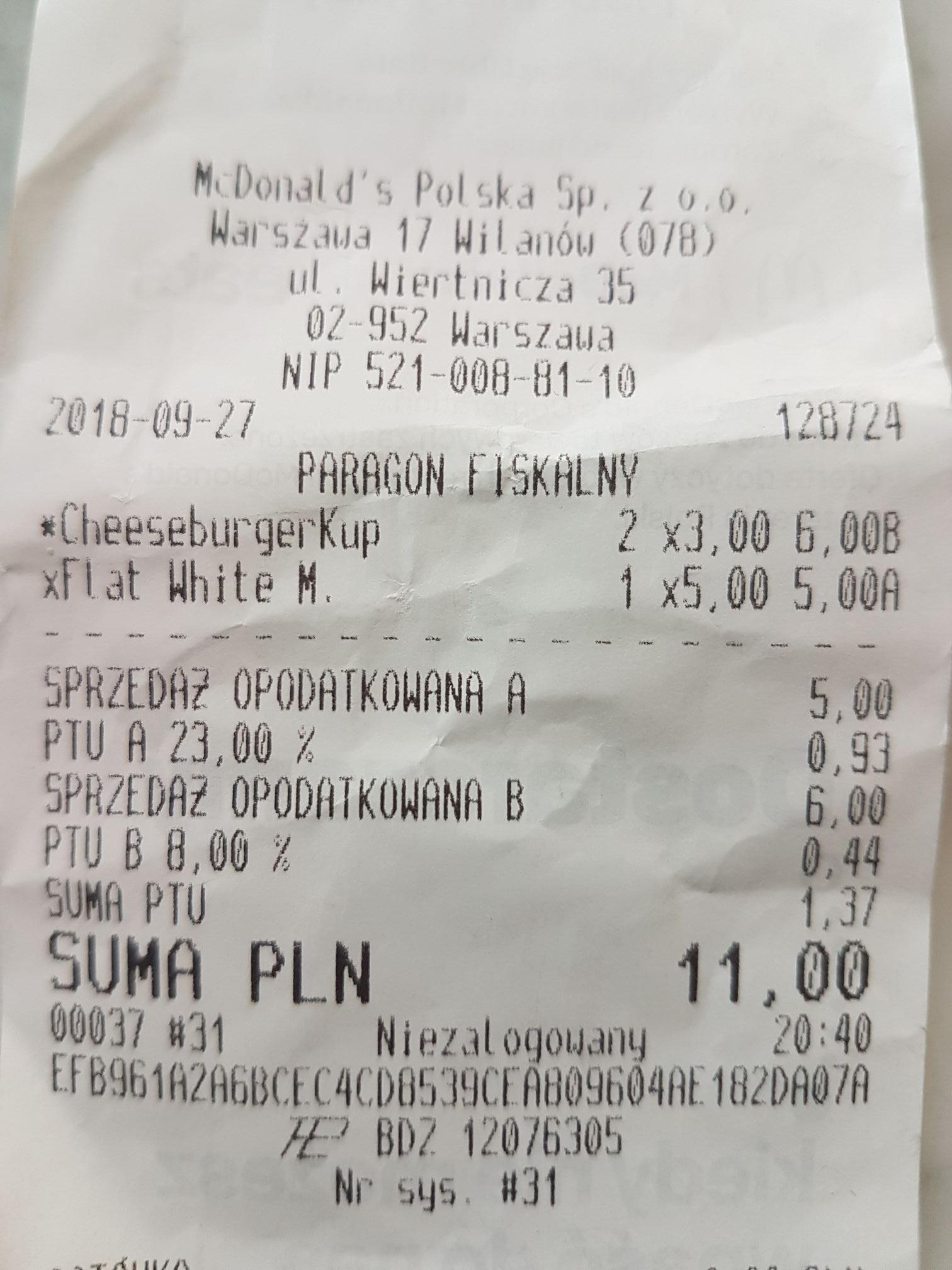 2 cheesburgery w McDonalds za 6 PLN