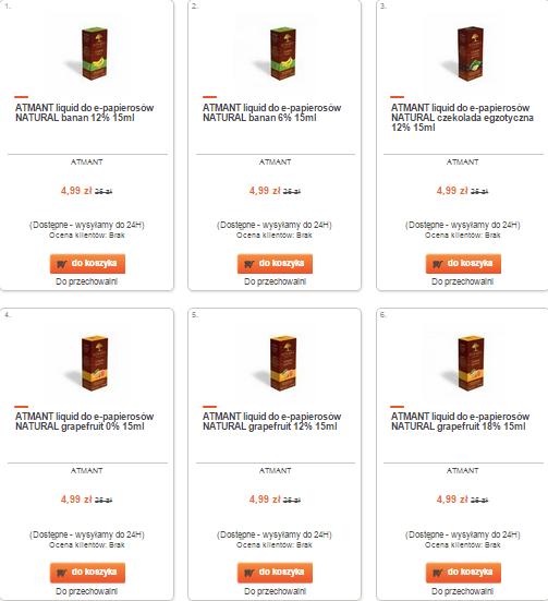 Liquidy Atman do e-papierosów 80% taniej (ponad 70 rodzajów) za 4,99zł @ Merlin