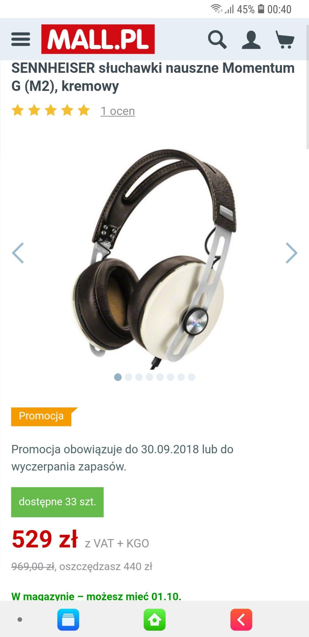 Świetne, wokółuszne słuchawki Sennheiser Momentum M2 AEG (android) / AEI (apple)