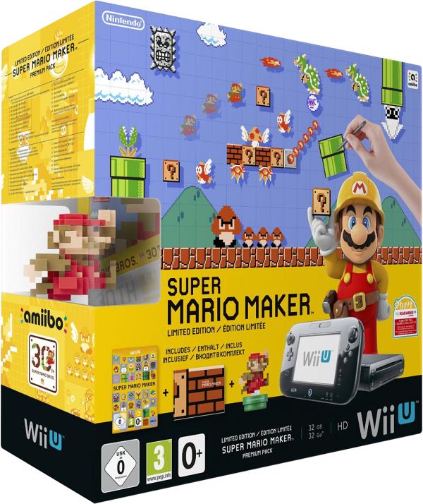Wii U Premium Pack Black + Super Mario Maker + amiibo w cdp.pl