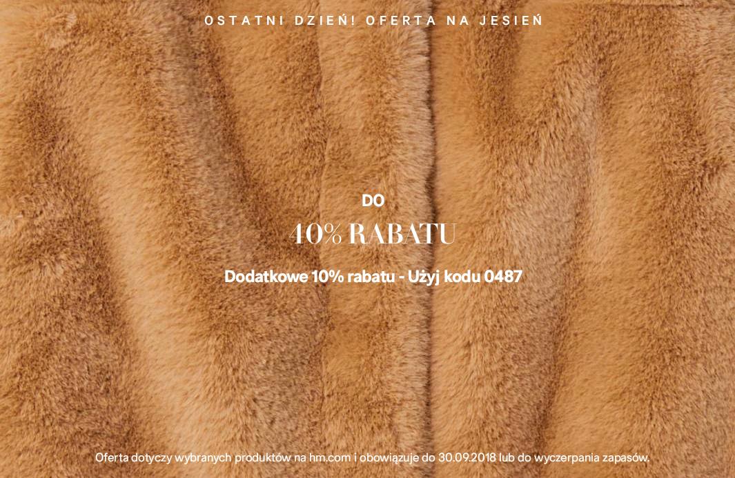 Dodatkowe 10% rabatu na przecenioną kolekcje jesienną @ H&M