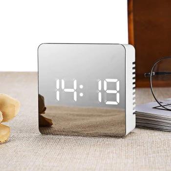 Zegar na biurko LED lustro budzik termometr @Dresslily