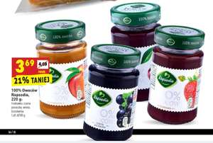 Dżem 100% Owoców Rapsodia (bez cukru) BIEDRONKA