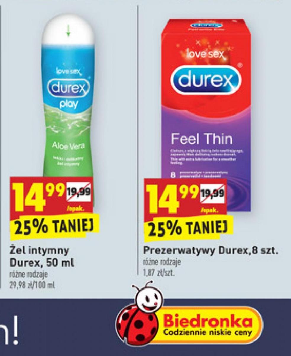 Żel intymny Durex 50ml. lub Prezerwatywy Durex 8szt. W Biedronce