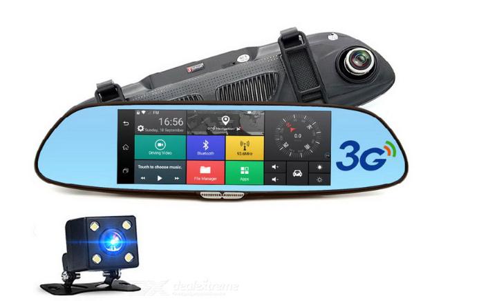 Lusterko rejestrator DVR nawigacja kamera cofania adnroid 3G GPS Bluetooth +16$ transiter FM